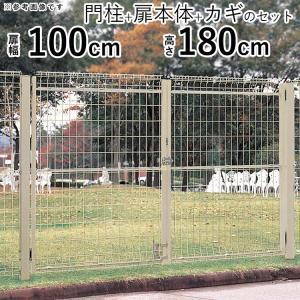 メッシュ門扉 シンプルメッシュ門扉2型 両開き 門柱タイプ 扉幅995mm×2 高さ1800mm kantoh-house