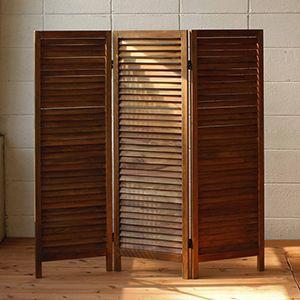 パーテーション 衝立 ついたて 木製 仕切り板 アンティーク 折りたたみ 3連 ガーデンファニチャーパーテーション|kantoh-house