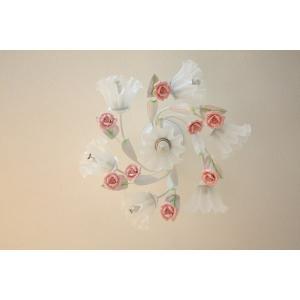 シャンデリア アンティーク調 7灯 10畳 薔薇 組立済 可愛い シーリングキャップ付き