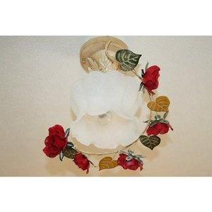 シャンデリア アンティーク調 1灯 薔薇 新品 可愛い 引っ掛けシーリングタイプ ワンタッチで簡単設...