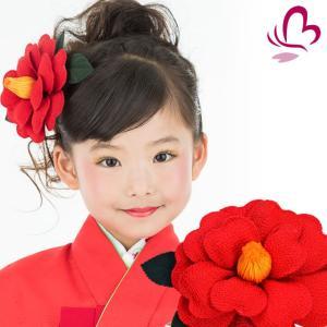 髪飾り 椿 赤 七五三の晴れ着に ちりめん花かんざし 椿の髪飾り 卒園式・卒業式の振袖・袴や成人式の和装・着物にも|kanzashi