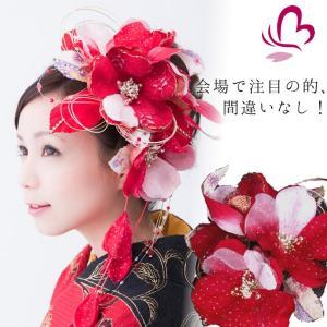 花髪飾りセット シャレード244515r 赤 レッド ヘッドドレス 成人式 振袖 髪飾り 卒業式 袴 髪飾り 結婚式 和服 和装 着物 浴衣|kanzashi