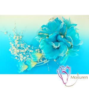 花かんざしパールシャワー 262515bl ブルー 青 大輪 成人式 振袖 髪飾り 卒業式 袴 髪飾り 結婚式 和服 和装 着物 浴衣 kanzashi