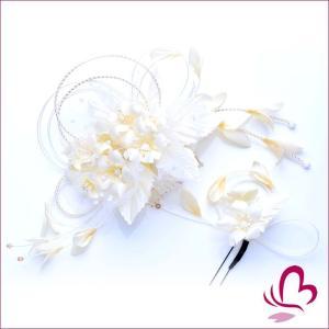 花かんざしセット 273115ow かんざし2点セット オフホワイト 白 成人式 振袖 髪飾り 卒業式 袴 髪飾り 結婚式 和服 和装 着物 浴衣|kanzashi