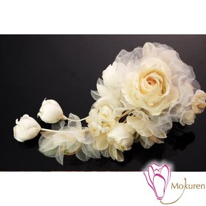 エアリーブーケ髪飾り 少し黄みかかったオフホワイト 薔薇 大輪 シースルーオーガンジー 日本製 成人式 振袖 卒業式 袴 髪飾り 結婚式 和服 和装 着物 浴衣|kanzashi