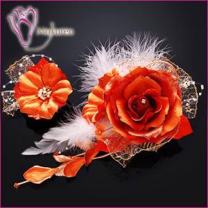 花かんざしセット 278715o かんざし2点セット オレンジ 大輪 成人式 振袖 髪飾り 卒業式 袴 髪飾り 結婚式 和服 和装 着物 浴衣|kanzashi