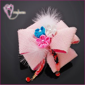 かのこキャリーリボン 291315p ピンク 桃色 かのこ リボン 羽 下がり つまみ細工 ちりめん 成人式 振袖 髪飾り 卒業式 袴 髪飾り 結婚式 和服 和装 着物 浴衣 kanzashi
