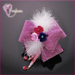 かのこキャリーリボン 紫 かのこ リボン 羽 下がり つまみ細工 ちりめん 成人式 振袖 髪飾り 卒業式 袴 髪飾り 結婚式 和服 和装 着物 浴衣|kanzashi