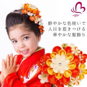 七五三 つまみ細工 髪飾り 918415or コームつまみかんざし2点セット オレンジ 橙色 753 女の子|kanzashi