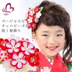 七五三 つまみ細工 髪飾り 919415r コームつまみかんざし2点セット 赤 レッド 753 通販 女の子 女児 こども 子供 キッズ|kanzashi