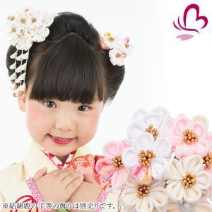 かんざし 髪飾り 七五三 白と薄ピンク 千代花 3歳 7歳 三歳 七歳 つまみ細工 ちりめん 日本製|kanzashi