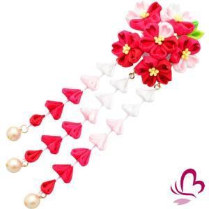 つまみ細工 髪飾り かんざし さくら 桜 赤 成人式 振袖 髪飾り 卒業式 袴 髪飾り 結婚式 和服 和装 着物 浴衣 kanzashi