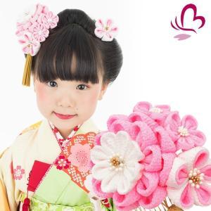 かんざし 髪飾り 七五三 3歳 7歳 三歳 七歳 ピンク つまみ細工 ちりめん 梅 日本製|kanzashi