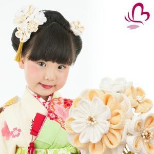 かんざし 髪飾り 七五三 3歳 7歳 三歳 七歳 白 つまみ細工 ちりめん 梅 日本製|kanzashi