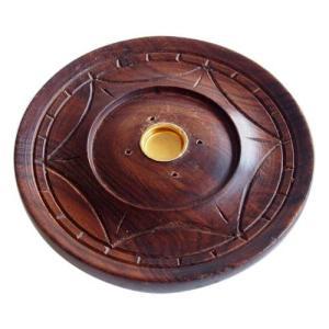 お香立て インセンスホルダー 木製 丸皿|kaori-market