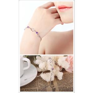 純銀 ブレスレット 腕輪 ハート柄 紫 ジルコリア ジュエリー シルバーアクセサリー レディース バングル・ブレスレット プラチナコーティング|kaoru-shop