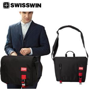 SWISSWIN スイスウィン ショルダーバッグ 軽量 12L メンズ 斜めがけバッグ PCバッグ おしゃれ 通勤 防水 通学 シンプル ななめ掛け swisswin ブラック SWE3011 kaoru-shop