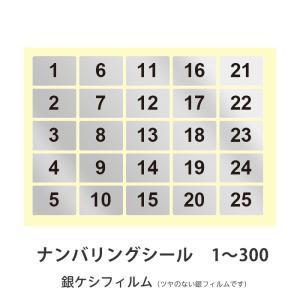 ナンバリングシール1〜300 銀ケシフィルム 耐水性|kapita
