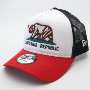 ニューエラ NEWERA 帽子 9FORTY A-Frame トラッカー カリフォルニア リパブリック ラインアート ホワイト/ネイビー スカーレットバイザー|kappacraft