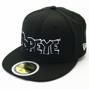 KIDS 子供用 ニューエラ NEWERA×POPEYE コラボ 帽子 KIDS 59FIFTY POPEYE(R) ポパイ(R) ロゴ ブラック|kappacraft