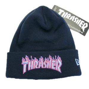ニューエラ NEWERAxThrasher コラボ 帽子 ニットキャップ ベーシック カフニット ベーシック カフニット Thrasher スラッシャー ネイビー / パープル|kappacraft