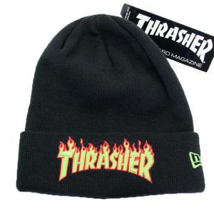 ニューエラ NEWERAxThrasher コラボ 帽子 ニットキャップ ベーシック カフニット ベーシック カフニット Thrasher スラッシャー ブラック / グリーン|kappacraft