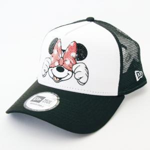 ニューエラ NEWERA 帽子 9FORTY A-Frame トラッカー ディズニー ミニーマウス スパンコール ブラック / ホワイト|kappacraft