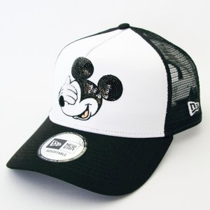 ニューエラ NEWERA 帽子 9FORTY A-Frame トラッカー ディズニー ミッキーマウス スパンコール ブラック / ホワイト|kappacraft