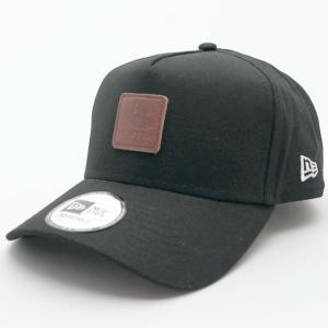 ニューエラ NEWERA 帽子 9FORTY A-Frame ダックキャンバス オールドロゴ レザーパッチ ブラック|kappacraft