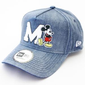 ニューエラ NEWERA×Disney 帽子 9FORTY A-Frame トラッカー ディズニー ミッキー イニシャル ウォシュドデニム|kappacraft