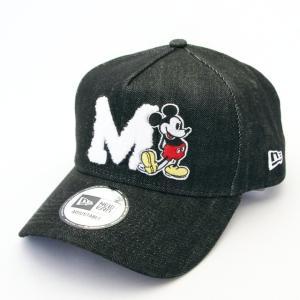 ニューエラ NEWERA×Disney 帽子 9FORTY A-Frame トラッカー ディズニー ミッキー イニシャル ブラックデニム|kappacraft