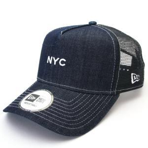 ニューエラ NEWERA 帽子 9FORTY A-Frame トラッカー NYC ミニロゴ インディゴデニム|kappacraft