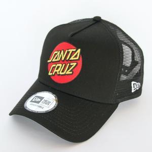 ニューエラ NEWERA 帽子 9FORTY A-Frame トラッカー Santa Cruz サンタクルーズ  ロゴ  ブラック スノーホワイト|kappacraft