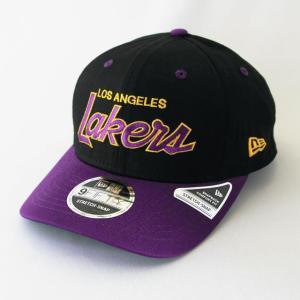 ニューエラ NEWERA 帽子 9FIFTY ストレッチスナップ ロサンゼルス・レイカーズ ブラック LSUパープルバイザー|kappacraft