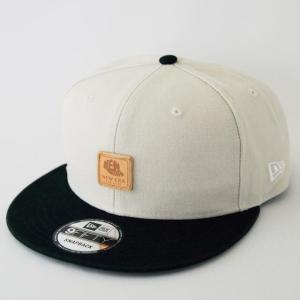 ニューエラ NEWERA 帽子 9FIFTY ヘビーウォッシュド ダックキャンバス レザーパッチ ストーン ブラックバイザー|kappacraft