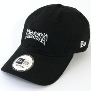 ニューエラ NewEraxTHRASHER コラボ 帽子 930 9THIRTY クロスストラップ Thrasher スラッシャー ファイアーロゴ ブラック × ホワイトアウトライン|kappacraft