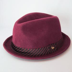 ニューエラ NEWERA 帽子 EK The Fedora Burgundy Wool SatinBand フェードラ バーガンディ ウール サテンバンド ブラック/レッド ストライプ|kappacraft