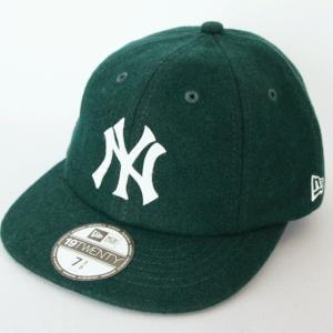 ニューエラ NEWERA 帽子 8パネル 19TWENTY メルトン ニューヨークヤンキース ダークグリーンxホワイト|kappacraft