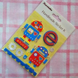 ハンドメイドステッカー エンジョイロボット Handmade Sticker K Enjoy Robot|kappaya