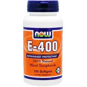 ビタミンE 400IU(100%天然ミックストコフェロール) 100粒 NOW|karada-oh