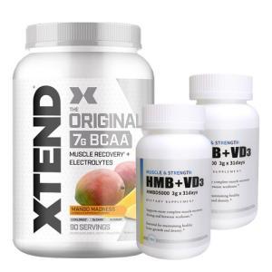 【超お得セット】[大容量約1.2kg]エクステンド(BCAA+Lグルタミン+シトルリン)※マンゴー(1個)&HMB+VD3(2個)|karada-oh