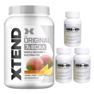 【超お得セット】[大容量約1.2kg]エクステンド(BCAA+Lグルタミン+シトルリン)※マンゴー(1個)&HMB+VD3(3個)|karada-oh