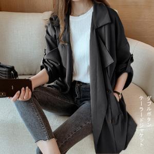 テーラードジャケット レディース ダブルボタン トップス コート アウター 春 トレンチ風 ポケット 一部即納 karei-fuku