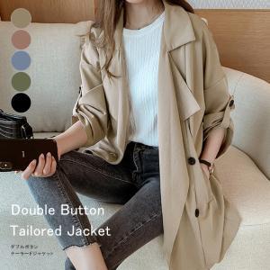 テーラードジャケット レディース ダブルボタン トップス コート アウター 冬 トレンチ風 ポケット 一部即納|karei-fuku