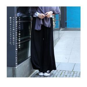 ワイドパンツ ガウチョ パンツ 体型カバー リ...の詳細画像3