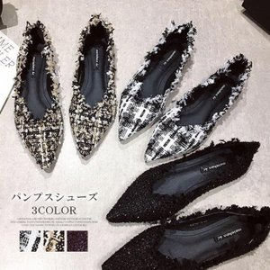 ツイード風パンプス シューズ フラットパンプス 華奢 魅力 透け感 涼しい 結婚式 クッション性 インソール 通勤 レディース|karei-fuku