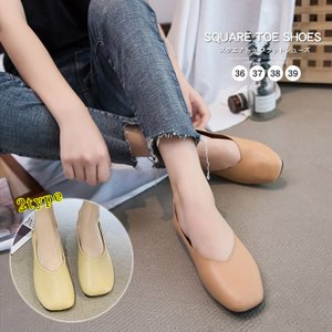 フラットシューズ レディース スクエアトゥ 靴 ローヒール パンプス 靴 シューズ|karei-fuku