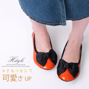 セール ペタンコ パンプス 走れる ラウンドトゥ 低反発 パンプス 痛くない 歩きやすい リボン付 バイカラー 美脚 ラクチン クッション|karei-fuku