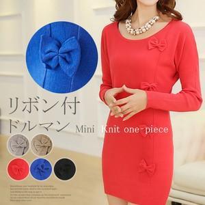 ニットワンピース  リボン付 ニット ミニワンピース チュニック 袖裾リブ編み|karei