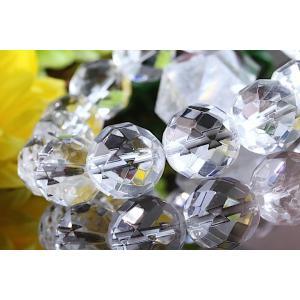 【送料無料】《珠径13mm 内径16.5cm 》多面カット ヒマラヤ水晶ブレスレット クォーツ パワーストーン 天然石ブレスレット code1201|karen-ya